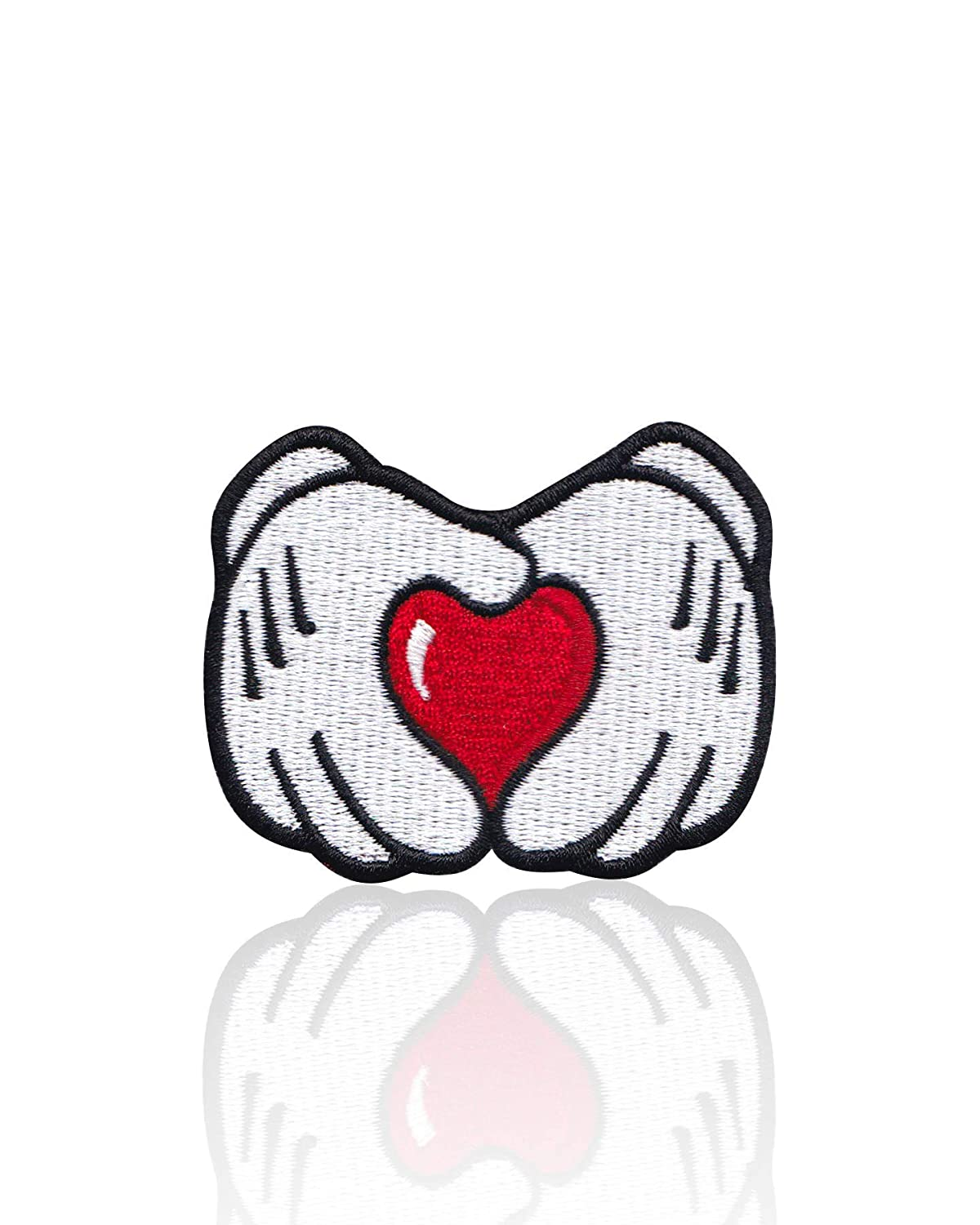 White Red Hats Bags Denim Jackets Mickey Mouse Heart Hands Iron on /& Sew on Embroidered Applique Decoration DIY Craft for Tshirts