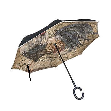BENNIGIRY Paraguas Exterior Negro con Protección UV y Parasol Ligero, Reverso Elegante, 3 Pliegues