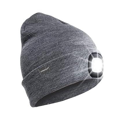 1fedc1f8 OUMEIOU 4 LED Headlamp Beanie Cap, Winter Warm Beanie Hat Hands Free  Lighted Beanie Cap