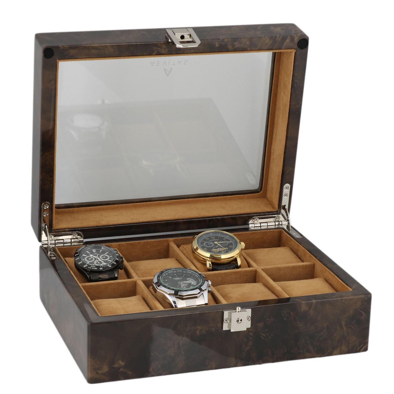 Armbanduhr Sammler Box fÜr 8 Handgelenk Uhren in dunklen Wurzelholz von aevitas