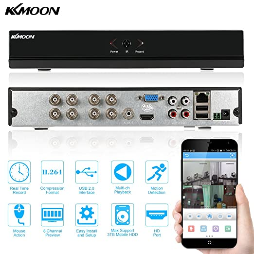 KKmoon, equipo de vídeo digital de 8 canales 960H D1 red CCTV DVR H.264 HDMI, supervisión de la seguridad de reproducción de vídeo