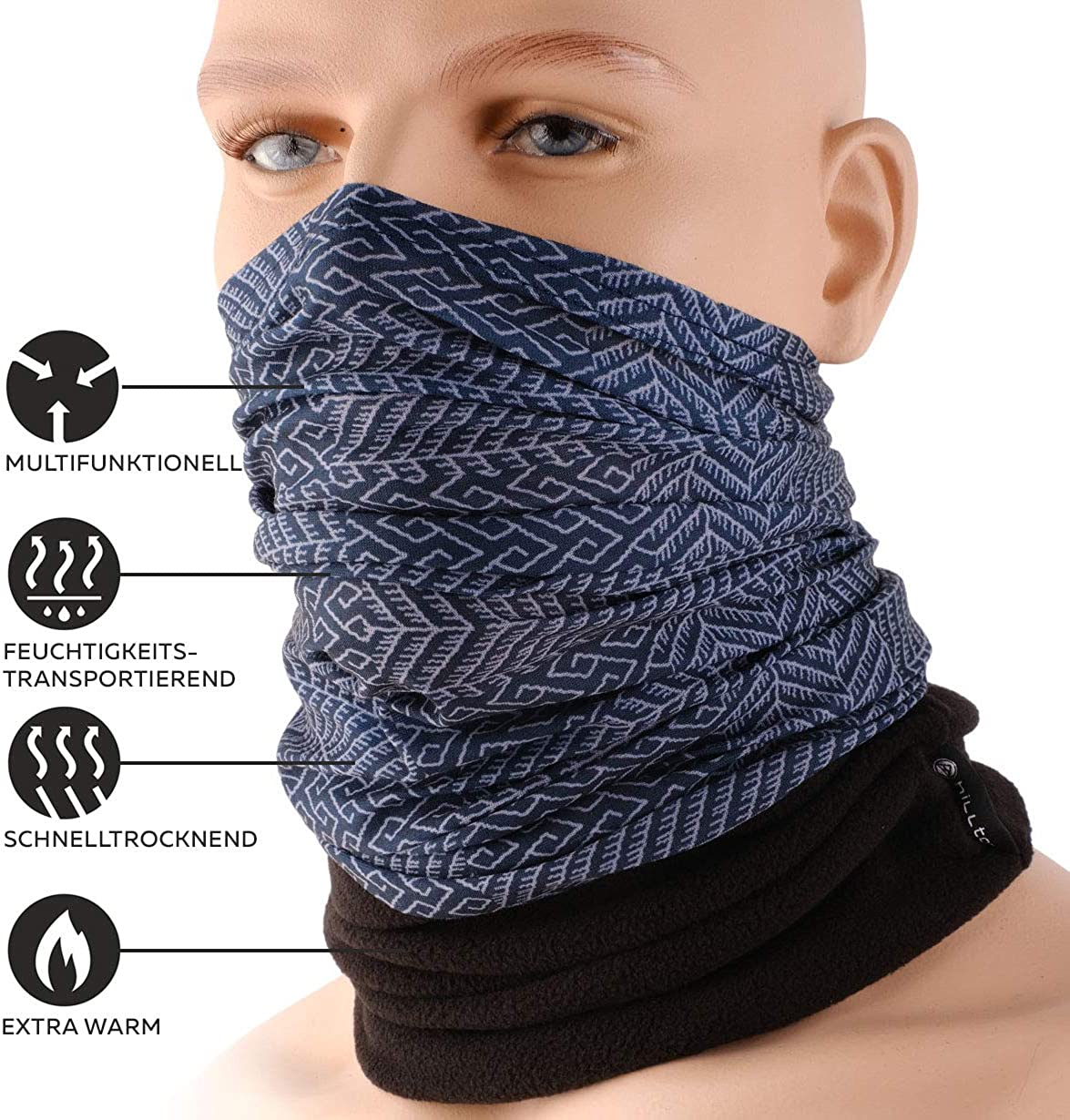 motorcycle scarf shawl for both men and women cool design in trendy colours ski face mask tube scarf HILLTOP Polar multifunctional scarf with fleece