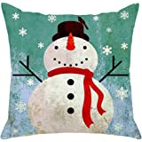 LAZAMYASA Merry Christmas Pillowcase Snowman Santa Claus Cushion Cover Case Throw Pillow Covers Custom Zippered Square Pillowcase 18x18