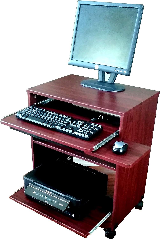 "Narrow Computer Laptop desk w/sliding printer shelf - 40"" W S40"