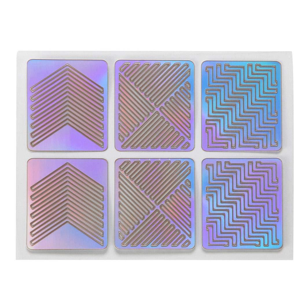 sunnymi 3 Blätter Neue Nagel Hohl Unregelmäßige Grid Schablone Wiederverwendbare Maniküre Template Nail Art Tools (9 * 7cm, 6pcs)