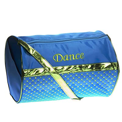 1PerfectChoice Girl's Quilted Nylon Dance Duffle Bag with Sequins, Turquoise and Green