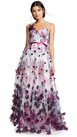 540b9900 Marchesa Notte Women's V Neck Floral Tulle Gown, Ivory, 14 at Amazon ...