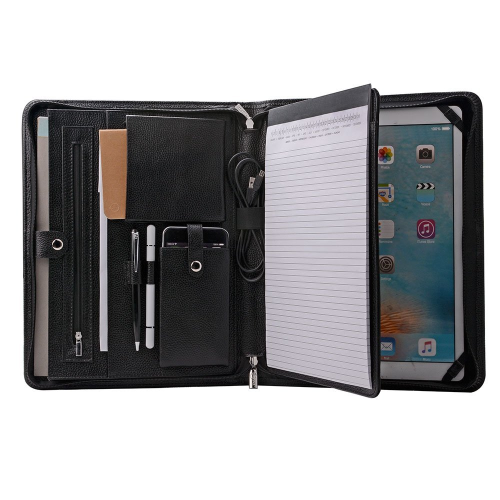 iCarryAlls Genuine Leather Portfolio Organizer Padfolio for iPad Pro 12.9 inch, A4 Portfolio for Notepad,Black