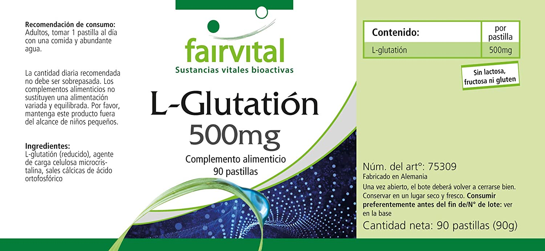 L-Glutation 500mg - A GRANEL envase para 3 meses - VEGANO - Altamente dosificado - 90 comprimidos - ¡Calidad Alemana garantizada!