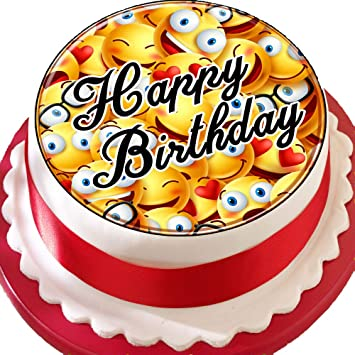 Emoji Smiley Faces Happy Birthday PRECUT Edible Icing Cake Topper Decoration