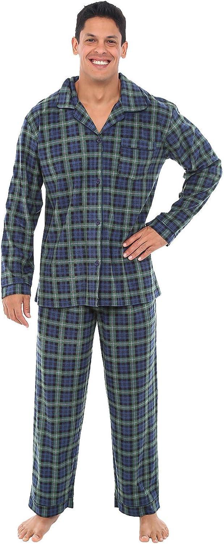 Alexander Del Rossa Mens Fleece Pajamas, Long Button-Down Pj Set