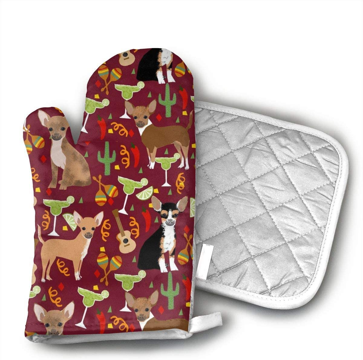Wiqo9 Chihuahua Fiesta Oven Mitts and Pot Holders Kitchen Mitten Cooking Gloves,Cooking, Baking, BBQ.