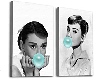 Funny Ugly Christmas Sweater Audrey Hepburn Blue Bubble Gum Wall Art Poster Audrey Home Office Decor Collection Stretched Canvas Print Hepburn Set of 2 Bubble Gum Wall Art Design White 11x17