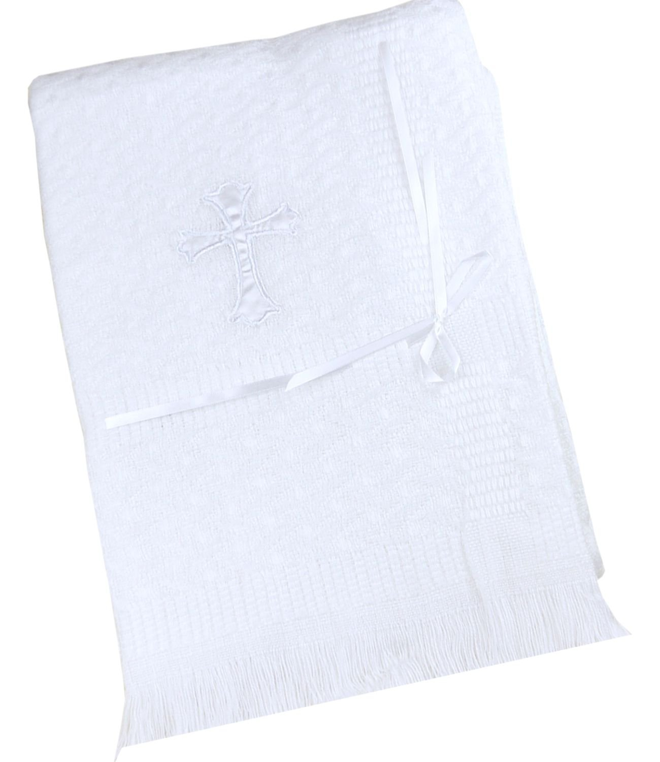 BabyPrem Baby Christening Shawl White With Embroidered Cross Acrylic 120 x 120cm SLD416