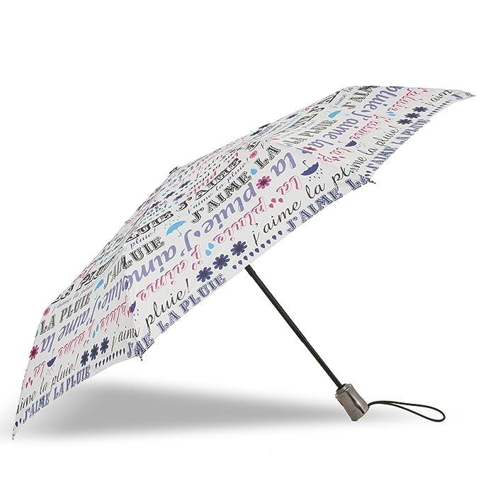 Isotoner Paraguas Paraguas X-TRA sólido apertura/cierre automático para mujer Modern love