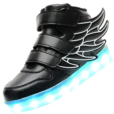 632636c5546b UBELLA Kids Boys Girls LED Light Up High Top Wings Shoes USB Rechargeable  Flashing Sneakers Black