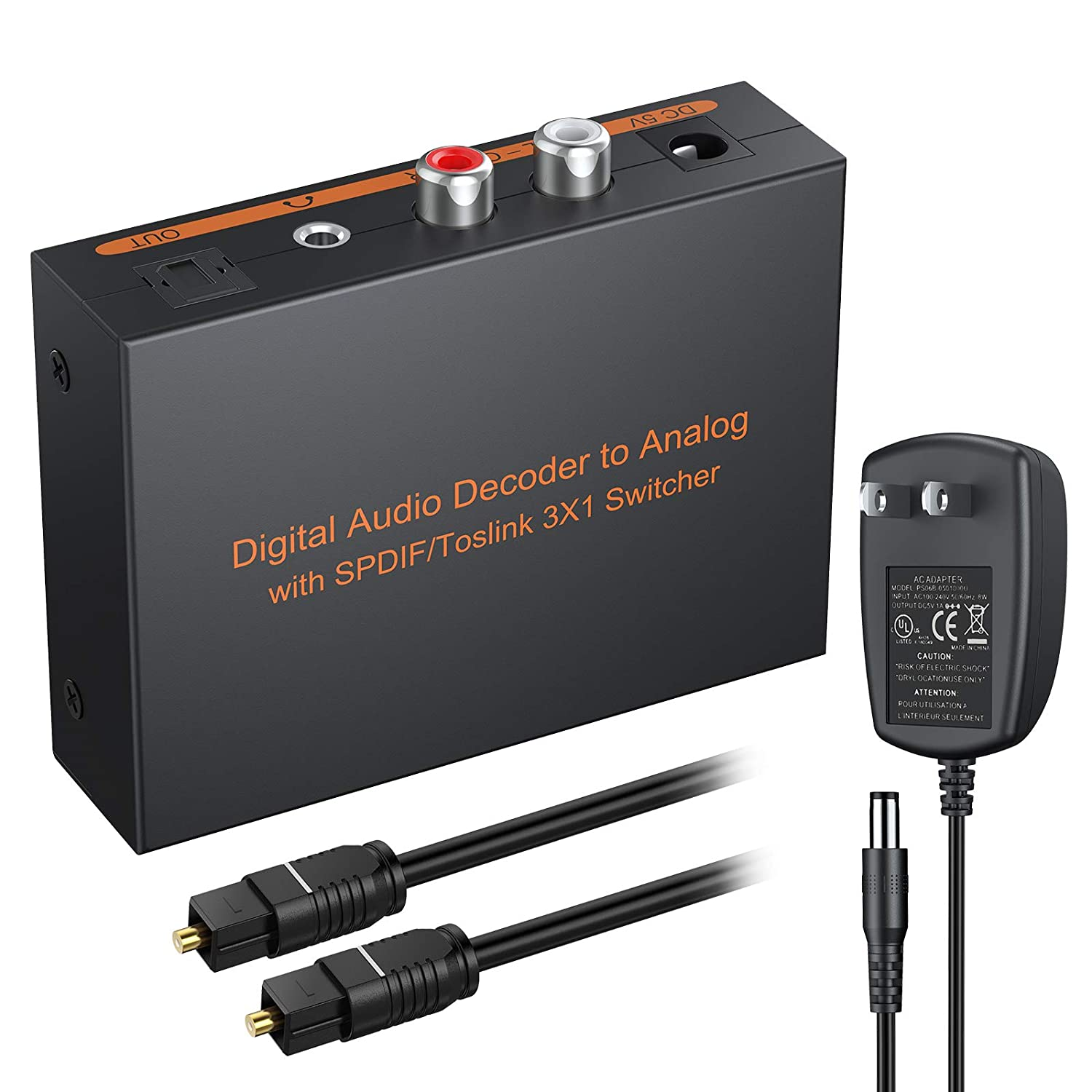 eSynic Digital to Analog Audio Decoder 3 Port Optical SPDIF Toslink to L/R RCA 3.5mm Stereo Audio Toslink Optical Switcher Splitter with 6.5ft OD 4.0 Cable Power Adapter Support DTS AC3 2.0 LPCM