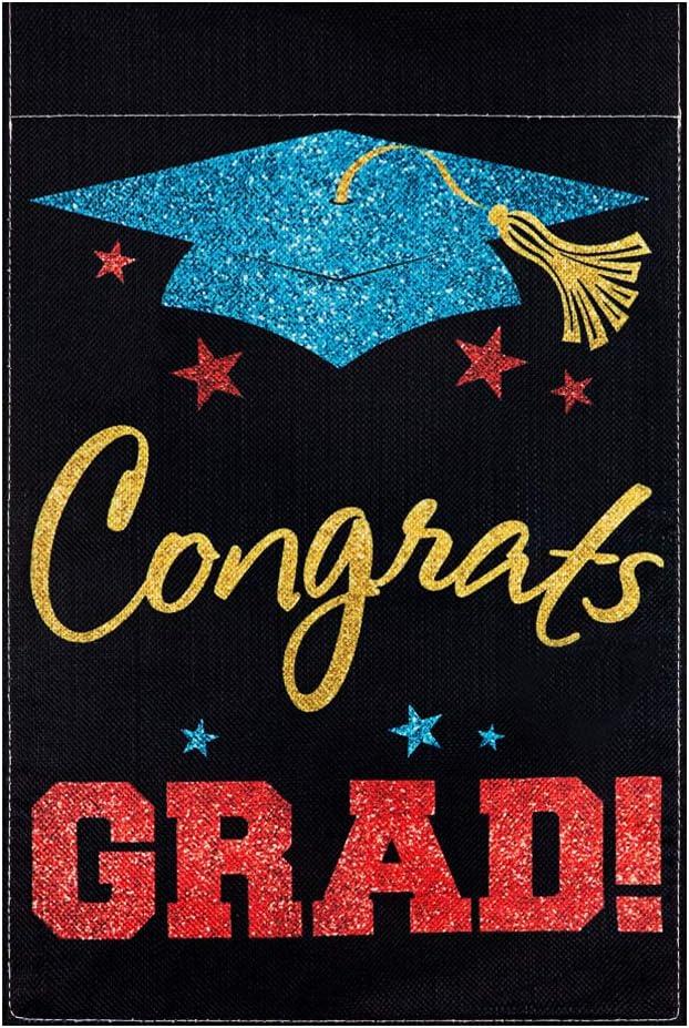 MONORD Graduation Cap Hat Congratulations Congrats Grad Garden Flag Vertical Double Sided, Congrats Graduate Yard Outdoor Decor 12x 18 Inch