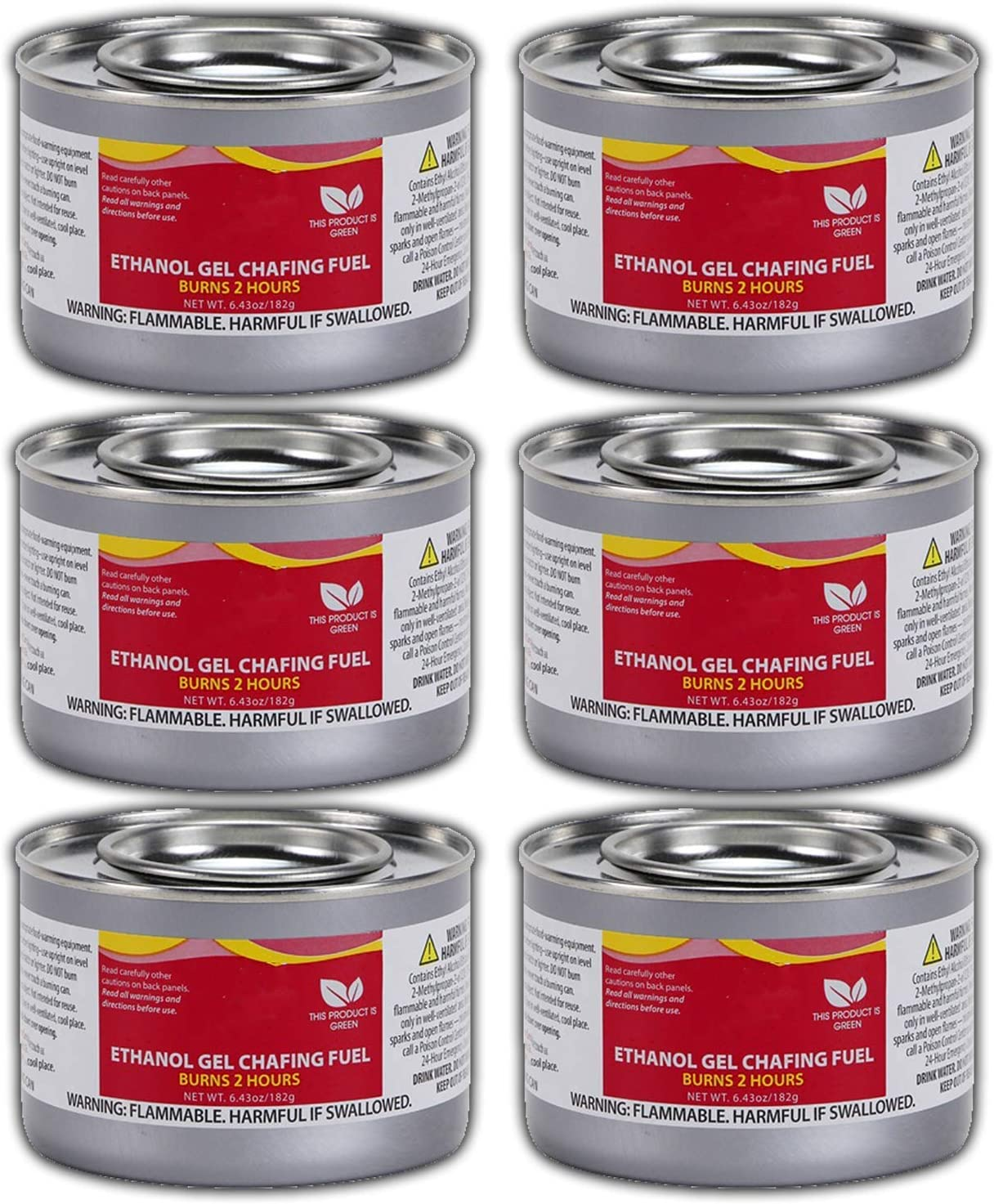 Chafing Dish Fuel Cans – Includes 6 Ethanol Gel Chafing Fuels, Burns for 2.5 Hours (6.43 OZ) for your Cooking, Food Warming, Buffet and Parties.