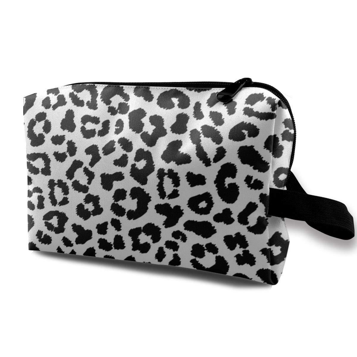 Black And White Leopard Fur Canvas Makeup Bag Pouch Purse Handbag Organizer with Zipper