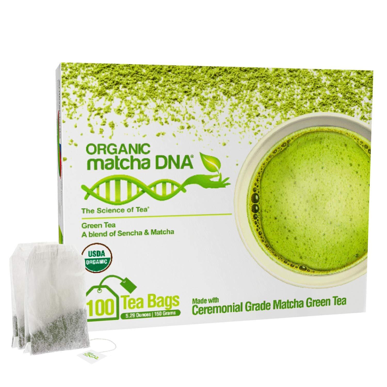 MatchaDNA Certified Organic Matcha Green Tea - 100 Tea Bags