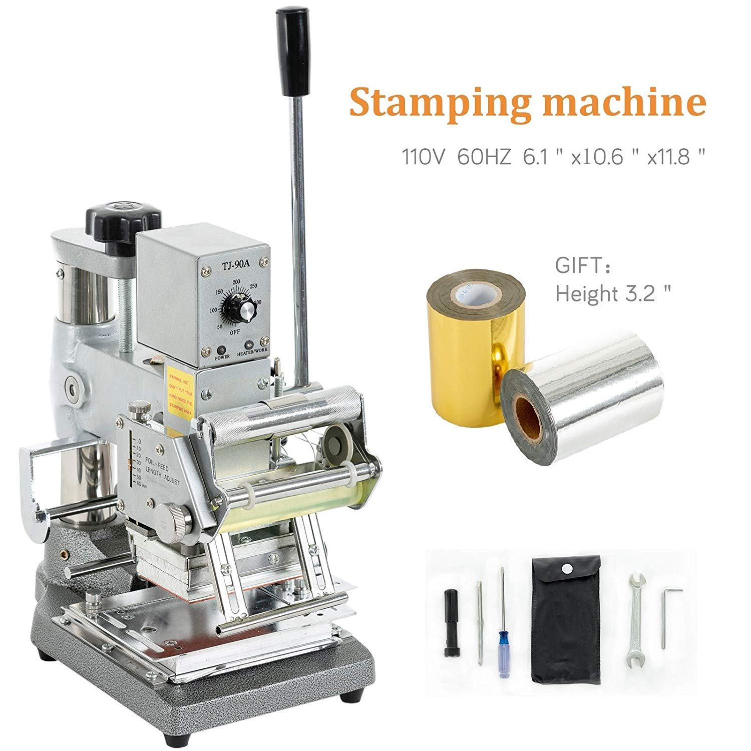 SUNCOO Hot Foil Stamping Machine 2.4 Inch x 3.5 Inch Bronzing Machine Embossing Machine Printing Logo for PVC Card, Credit Card with Foil Paper