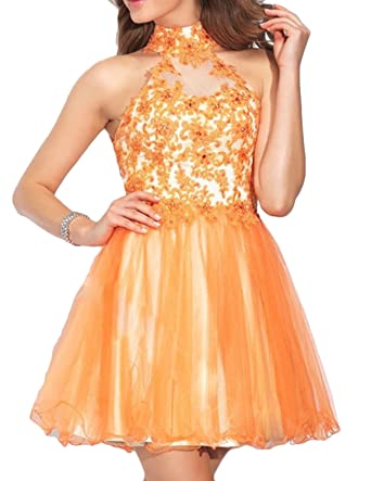 Udresses Womens 2017 High Neck Homecoming Dress Short Lace Beaded Prom Gown HC55 Dark Gold 2