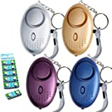 Tian 4Pcs 130DB Super Loud Emergency Personal Alarm Keychain with LED Light Police Approved -Safesound Personal Self Defense Security Alarm with 12 LR44 Button Battery for Women Kids Elderly