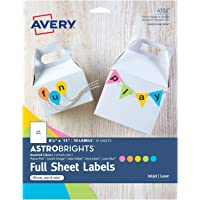 """Avery Astrobrights Full-Sheet Label for Laser & Inkjet Printers, Assorted Colors, 8.5"""" x 11"""", 10 Labels (4332)"""