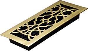 Decor Grates A412 4-Inch by 12-Inch Victorian Floor Register, Solid Brass