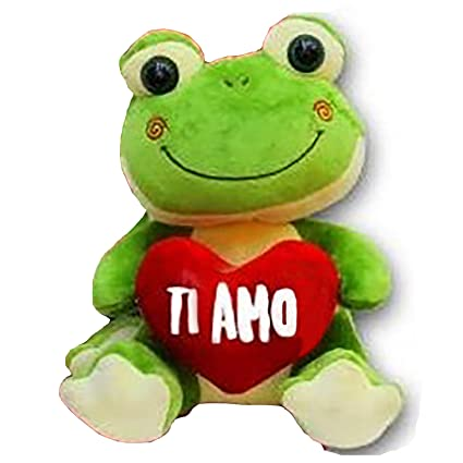 """Peluche con forma de rana que sostiene un corazón estampado con la frase en italiano """""""