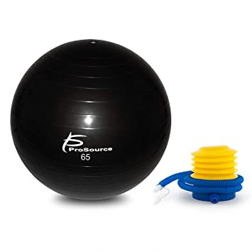ProSource Stability Exercise Ball with Foot Pump, Black 65 cm, Anti-Burst up