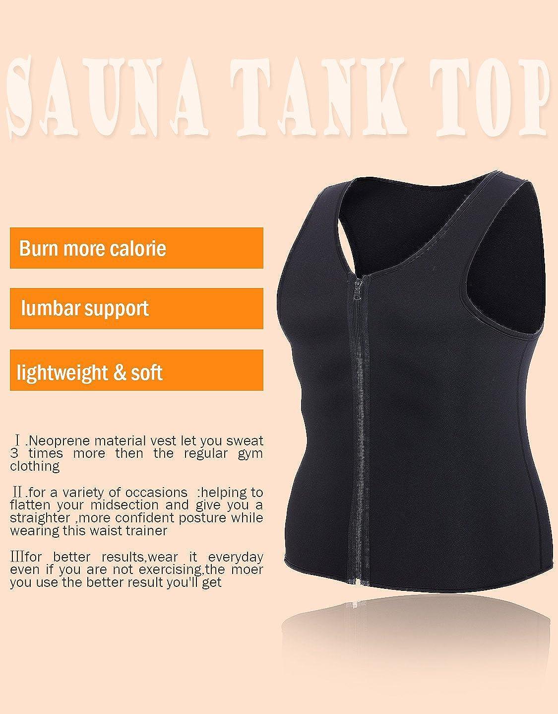 84d216cdf2 Amazon.com  Exerthy Men Sauna Waist Trainer Vest for Weightloss Neoprene  Compression Tank Top Body Shaper Slimming Shirt Corset  Clothing