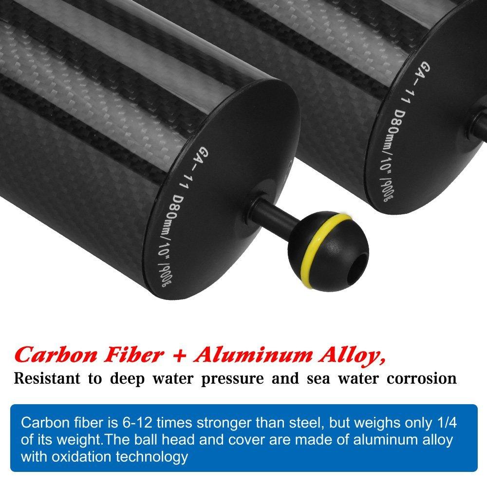 Sea Frogs 17,8 cm//20 cm in fibra di carbonio D60 MM subacquea galleggiante braccio per video luce//Strobo montaggio