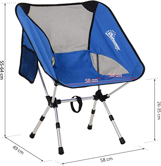 Outsunny Silla de Camping Plegable con Bolsa de Transporte Altura Ajustable Ligera Sporta hasta 120kg Aluminio y Poli/éster 58x49x64cm Verde//Azul