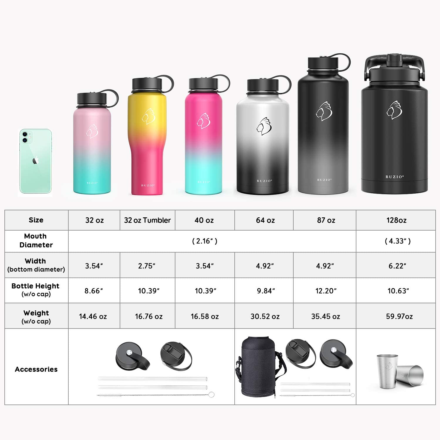 64oz 40oz Cold for 48 Hrs Hot for 24 Hrs Simple Thermo Canteen Mug 32oz BUZIO Insulted Water Bottle with Straw Lid and Flex Cap 87oz Modern Double Vacuum Stainless Steel Water Flask 22oz