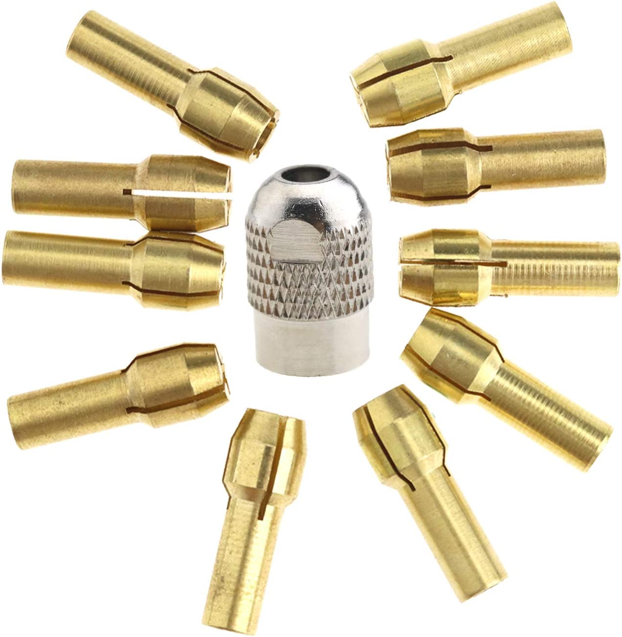 10pcs Brass Collet Bit 1pc M8 Drill Chuck 0.5-3.2mm Compatible with Dremel E Rotary Tools