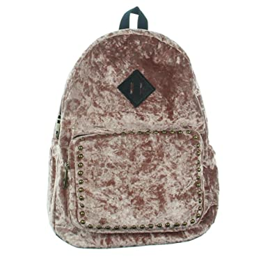 3a925617d83 Amazon.com | Madden Girl Womens Crushed Velvet Studded Backpack Pink ...