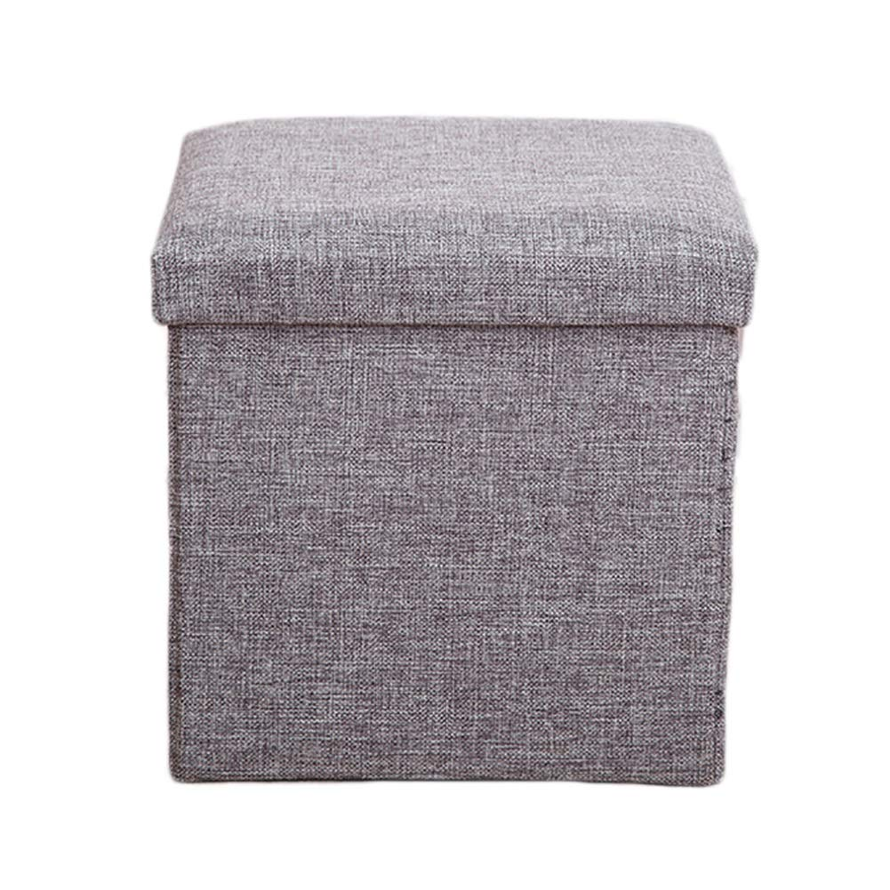 LFF- Folding Storage Ottoman Cube Footrest Stool Foldable Square Foot Rest wtih Lid 31X31X31cm (Color : Gray)