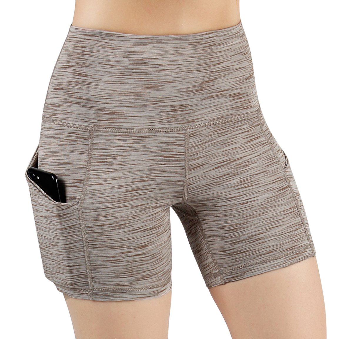 ODODOS High Waist Out Pocket Yoga Short Tummy Control Workout Running Athletic Non See-Through Yoga Shorts,SpaceDyeBrown,X-Large by ODODOS