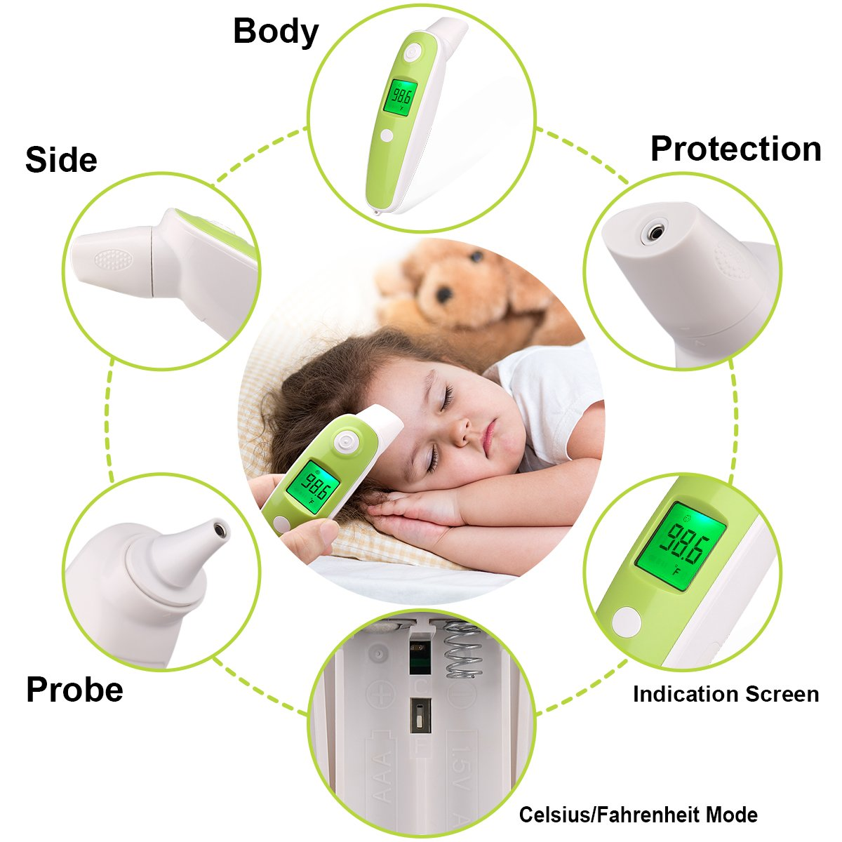 BuySevenSide Ear Thermometer with Forehead Function,Digital Laser Infrared Thermometer Temperature Gun Instant Read Accuracy Professional Temperature for Children and Adults with Fever Indicator by BuySevenSide (Image #8)