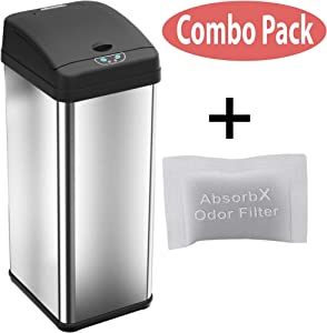 iTouchless 13 Gallon Stainless Steel Automatic Odor Control System Big Lid Opening Sensor Touchless Kitchen Bin, Brushed trash can