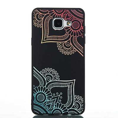 Coque Samsung Galaxy A5 2016,Coffeetreehouse Motif soft coloré de estampé Noir mince TPU Fantaisie Effet relief Ultra Mince Anti-Rayures Antichocs Case Housse pour Samsung Galaxy A5 2016(Fleur diagonale)