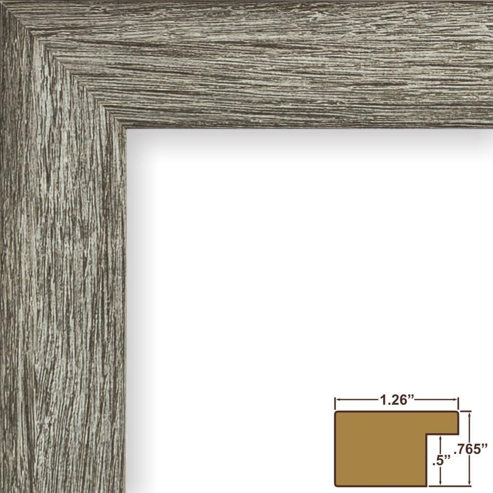 Craig Frames Bauhaus 125 Grey Barnwood Picture Frame With Single Opening White