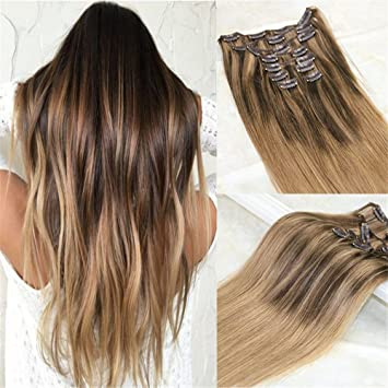 Amazon Com Hairdancing 20 Remy Clip In Extensions Ombre Color