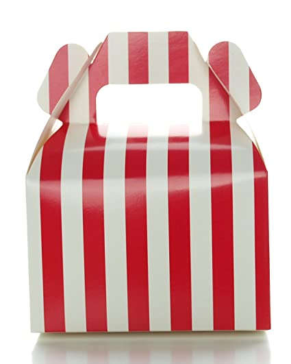 Christmas Wedding Favor Box Red Stripe Party Boxes 12 Pack Square Gable Holiday Gift Box Red Candy Buffet Favors Birthday Party Or Wedding