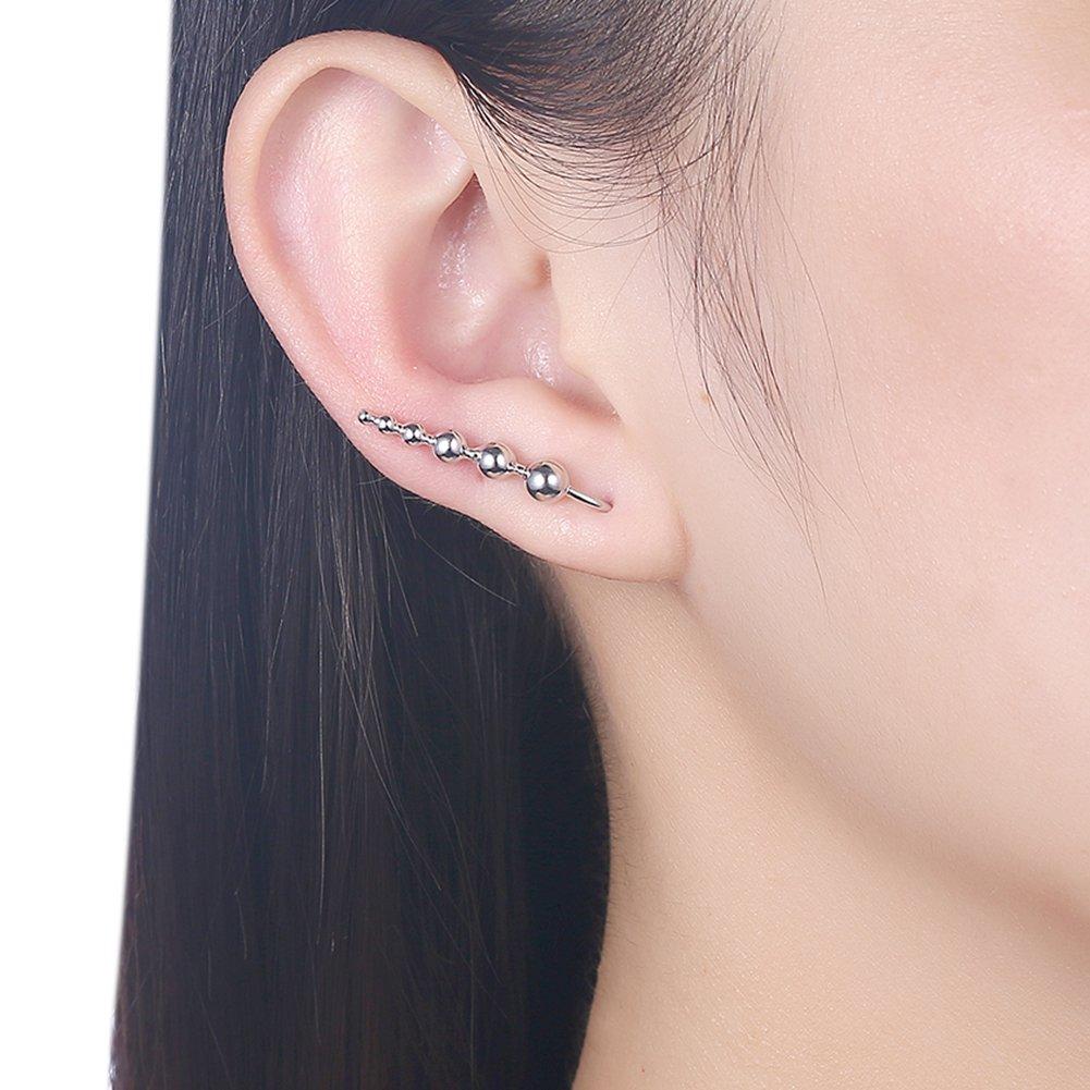 Ball Climber Earrings Cuff Wrap 925 Sterling Silver Ear Crawler Studs for Women Girls Sensitive Ears Hypoallergenic IminiJewelry