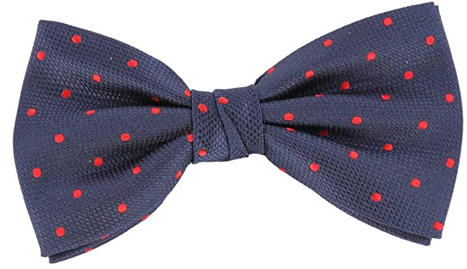 de40036be94c Image Unavailable. Image not available for. Color: Knightsbridge Neckwear  Mens Spotted Silk Bow Tie - Navy/Red