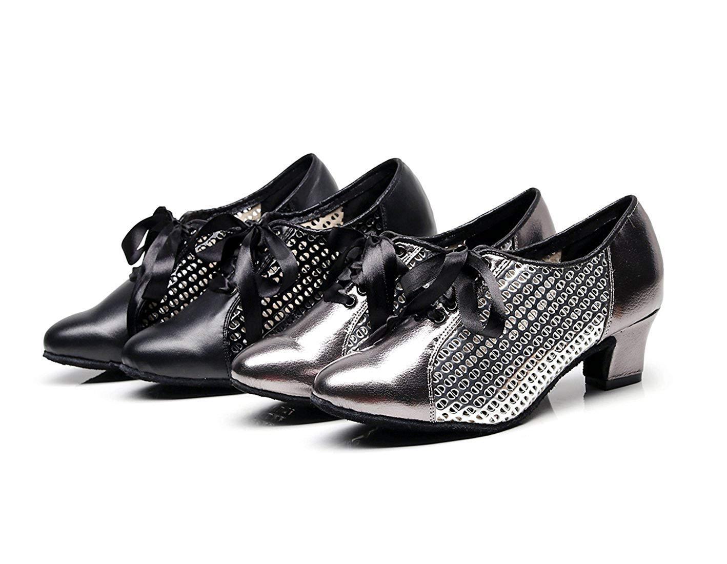 Qiusa Damen Mesh Lace-up Grau Synthetische Chunky Low Heel Latin Latin Latin Ballroom Tanzen Pumps Abendschuhe UK 4 (Farbe   - Größe   -) 87b768