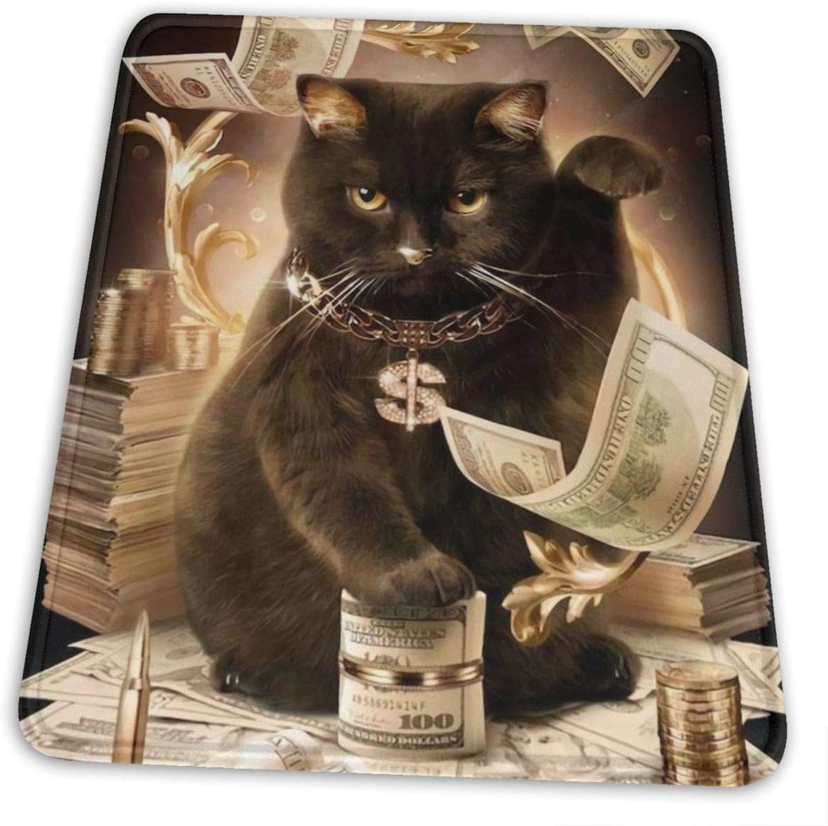 Lucky Black Cat and Money Cash Mouse Pads Laptop Computer Keyboard Mousepad Office Space Home Decor Accessories Mouse Mats 8.6 x 7 in